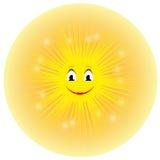 导航逗人喜爱的微笑的黄色动画片太阳的例证 免版税库存图片