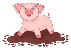 导航逗人喜爱的猪的例证在水坑的 免版税图库摄影