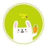 导航逗人喜爱的白色兔子,您的欢呼 库存照片