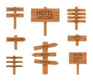 导航野营的木标志汇集,海滩尖,例证 向量例证