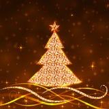 导航金子与闪烁圣诞树的圣诞节背景 库存照片