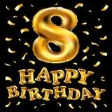 导航金子八年周年庆祝生日快乐气球 与色被隔绝的五彩纸屑金黄的第8个周年商标 库存照片