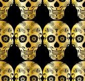 导航金黄糖头骨的无缝的样式有乱画元素的 免版税库存照片
