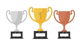 导航金,银和古铜色优胜者杯子 向量 库存照片