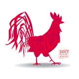 导航雄鸡的例证,在中国日历的标志2017年 现出轮廓红色公鸡,装饰用花卉样式 免版税库存图片