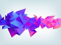 导航雕琢平面的3d水晶五颜六色的形状,横幅 水晶,水平的取向紫色和桃红色颜色 库存图片