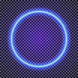导航霓虹在透明背景的圈子框架深蓝颜色 库存图片