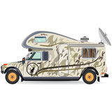 导航露营车汽车的例证在平的样式的 库存图片