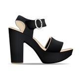 导航鞋子,妇女` s从开放被冠上的和高跟鞋的黑色凉鞋,被隔绝 免版税库存照片