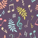 导航音乐笔记和叶子的无缝的样式 免版税图库摄影