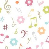 导航音乐笔记和花的无缝的样式 免版税库存图片