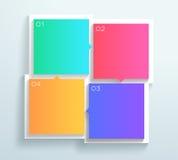 导航颜色3d正方形正文框1到4周期Infographic B 库存照片