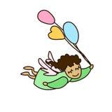 导航飞行与气球的动画片天使的例证 库存照片