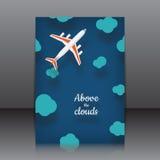 导航飞行物的设计与飞机的在动画片样式 免版税库存图片