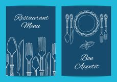 导航餐馆或咖啡馆菜单的卡片、飞行物或者小册子模板 皇族释放例证