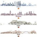 导航马德里、巴塞罗那、里斯本和波尔图抽象市的例证在brightful色板显示的地平线 库存例证