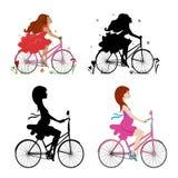 导航骑自行车的女孩的例证 免版税库存图片