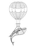 导航鲸鱼有成人col的气球被仿造的背景 向量例证