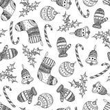 导航黑圣诞节装饰标志的无缝的样式 向量例证