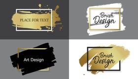 导航黑油漆、墨水刷子冲程、线或者纹理 肮脏的艺术性的设计元素、箱子、框架或者背景文本的 库存例证