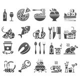 导航黑色套平的象和元素关于食物并且为烹调网餐馆菜单喝 免版税图库摄影