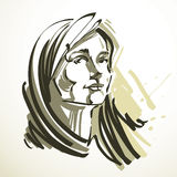 导航年轻典雅的女性的例证,艺术图象 染黑  免版税库存图片
