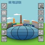 导航介绍和infographics和象工厂大气污染的例证 库存图片