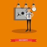 导航治安警卫的例证在平的设计的 免版税图库摄影