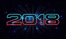 导航2018年与减速火箭的字体的新年快乐背景在空间背景 库存图片