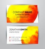 导航水彩公司本体两侧面生意卡片和横幅的元素模板 免版税库存照片