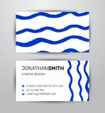 导航水彩公司本体两侧面生意卡片的元素在蓝色船舶eco题材的模板和横幅 免版税库存照片