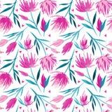 导航水彩花卉无缝的样式、精美花、绿色、绿松石和桃红色花 免版税库存图片