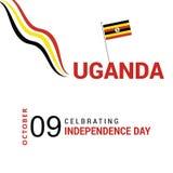 导航10月9日乌干达美国独立日 黑红色和黄色 库存例证