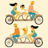 导航年轻有家室的人妇女和儿童骑马的例证在纵排自行车的 图库摄影