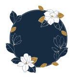导航围绕木兰花、芽和叶子框架在深刻的蓝色和古铜色颜色 库存照片