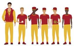导航年轻棒球运动员的例证合作与穿制服的教练教练员 库存例证