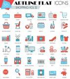 导航购物超现代概述artline平的线象网和apps 免版税图库摄影