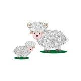 导航绵羊和羊羔的例证在隔绝 库存照片