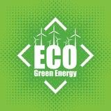 导航绿色能量的概念与风轮机的 库存照片