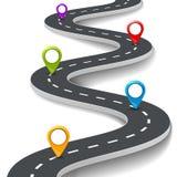 导航3d与别针,尖的路infographic例证 街道信息概念 柏油路infographic和五颜六色的别针 图库摄影
