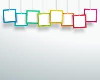 导航3d垂悬设计的空白的五颜六色的方形的框架 免版税库存照片