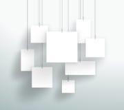导航3d垂悬设计的空白的白方块箱子 图库摄影