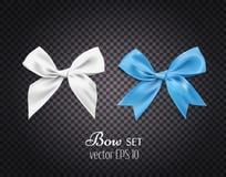 导航3d白色现实的丝带,蓝色弓 黑暗的透明背景 库存照片