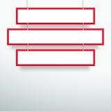 导航3d空白的红色3线垂悬设计的标题横幅 库存照片