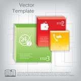 导航3d infographic的方形的塑料光滑的元素 库存例证
