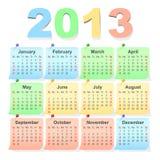 导航2013个日历,与星期天的星期起始时间 皇族释放例证