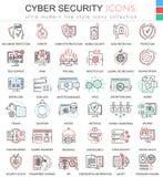 导航apps和网络设计的网络安全超现代颜色概述线象 免版税库存图片