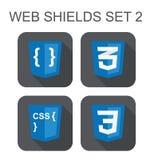 导航css网发展盾标志的汇集:css3,猪圈 库存照片