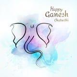 导航Ganeshaon阁下五颜六色的水彩背景的例证在油漆样式的 概念为宗教假日25 库存照片