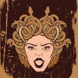 导航gorgon的例证与蛇的并且张嘴 皇族释放例证